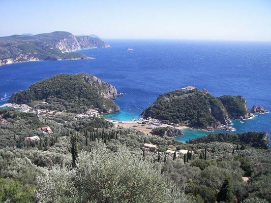 Paleokastritsa, Corfu, Corfu Island The bay of Palaiokastritsa  photo by wikipedia.org