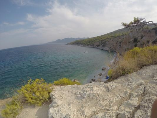 , <br>View from the cliff that leads to a beautiful beach named Chalkiada. - by militsamilenkova