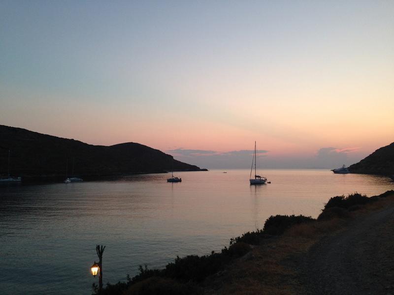 Kythnos Island Kolona beach  Kolona beach at dusk - by adampao