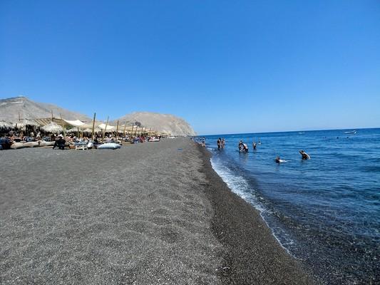 Doriko, Dorida, Phocis Perissa Beach,Santorini, Greece  Black Beach - by evelinakou