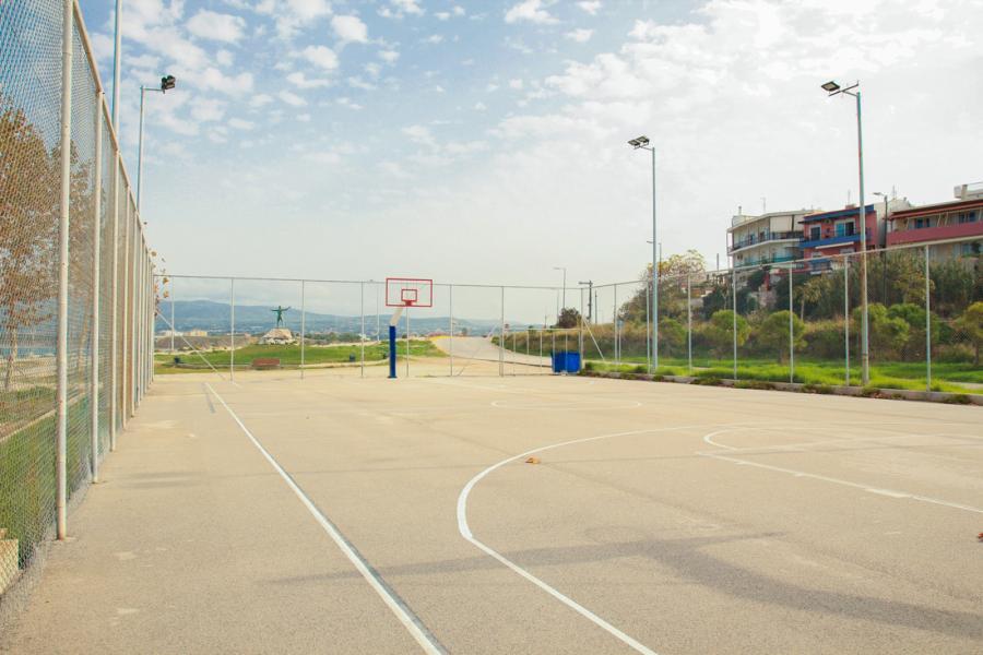 Basketball court, by the sea, near St Nicholas beach in Corinth