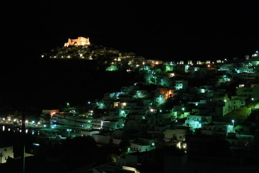 Pera Gialos, Astypalaia, Astypalaia Island Night view Astypalaia  Pera Gialos with Chora and the castle on the background! Photo by George Kalofolias