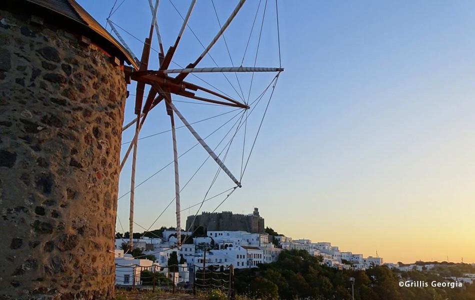 Patmos Chora, Patmos, Patmos Island The Windmills of Patmos  photo by Grillis Georgia www.patmos.gr