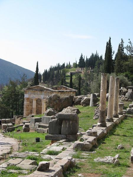 Delphi, Delphi, Phocis The Athenian Treasury  Photo by Yair Haklai wikimedia.org