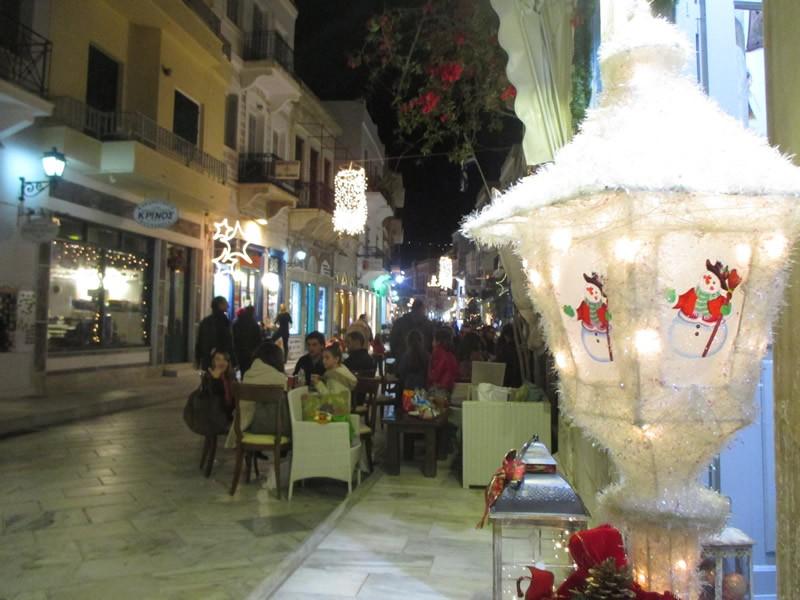 Syros Island Christmas in the centre of Ermoupolis  Main Shopping street at Ermoupolis at Christmas time