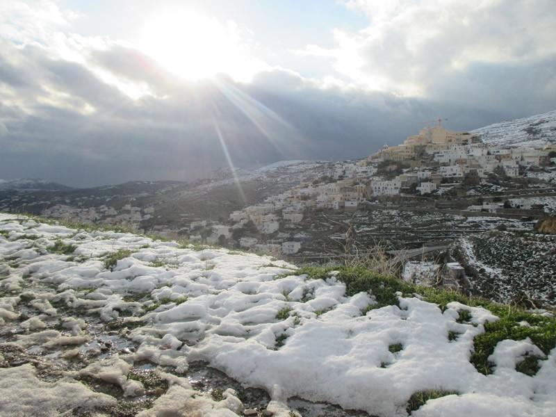 Ano Syros, Syros, Syros Island Snow at Ano Syros and Apano Meria - View from Panachrantos  Snow at Ano Syros and Apano Meria on 8th of January 2015