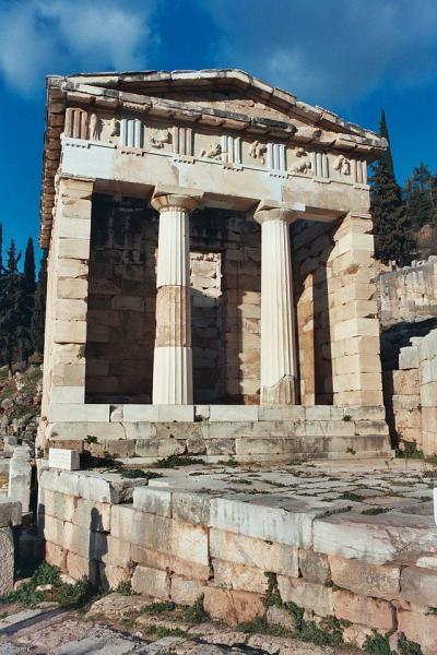 Delphi, Delphi, Phocis The Athenian Treasury  Photo by wikimedia.org