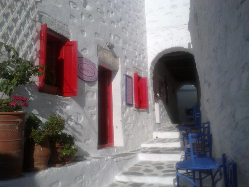 Amorgos Chora, Amorgos, Amorgos Island Chora of Amorgos  Between the small cobbled streets in the Chora of Amorgos island, you will reach its most beautiful spot, where the