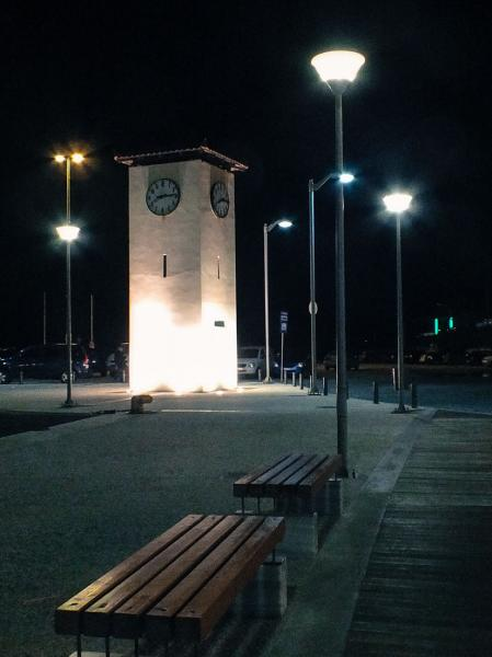 Myrina, Lemnos<br>The clock in Myrina at night time.