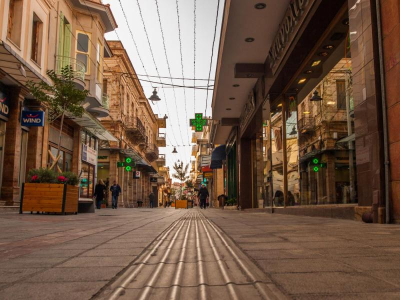 , <br>Aplotaria street, the main commercial street of the town Michael Tetteris / Chios Tourism Department