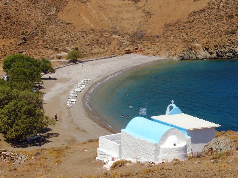 Astypalaia Island Agios Konstantinos beach with the little church  Photo by Victoria Dedeyan