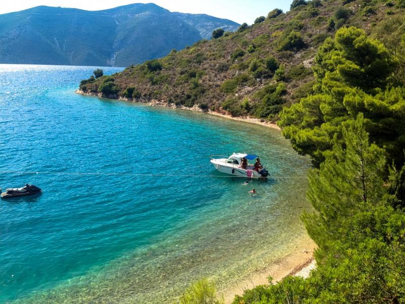 Ithaca Island Skinos bay  Boat in Skinos bay. - by adampao