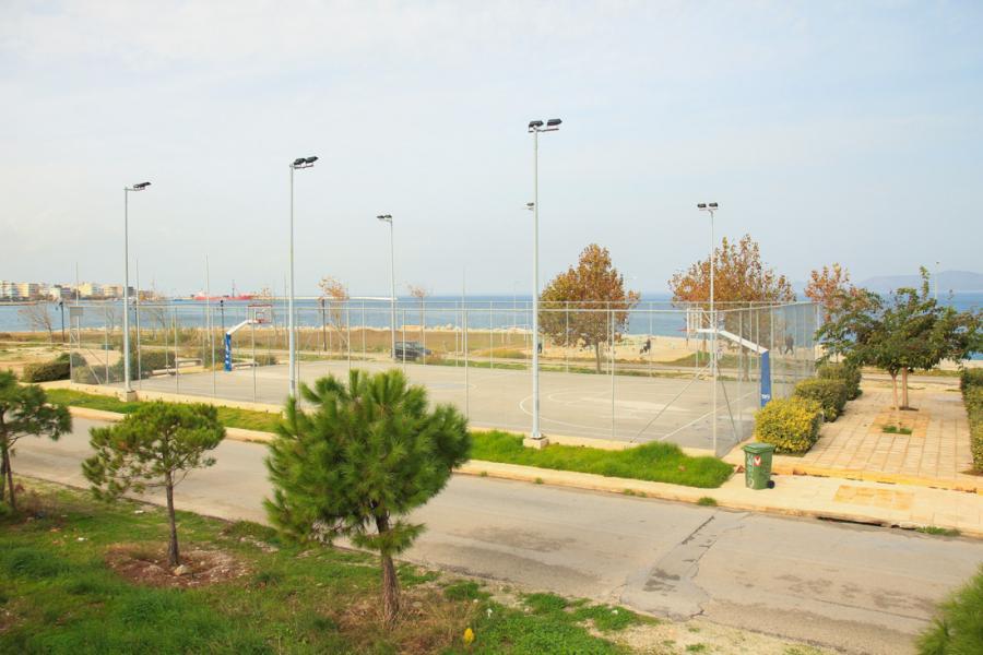 Basketball court, by the sea, near St Nicholas beach in Corinth.