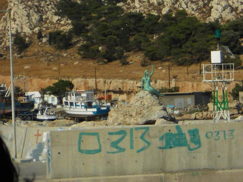 Kalymnos - Pothia, Kalymnos, Kalymnos Island Mermaid statue near the boatyard  Photo by Anna Makarouna