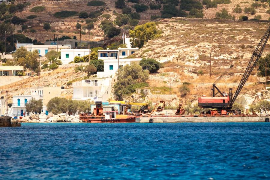 Psathi, Kimolos, Kimolos Island Port of Psathi  The port of Psathi in 2014, with the construction going on. - by adampao