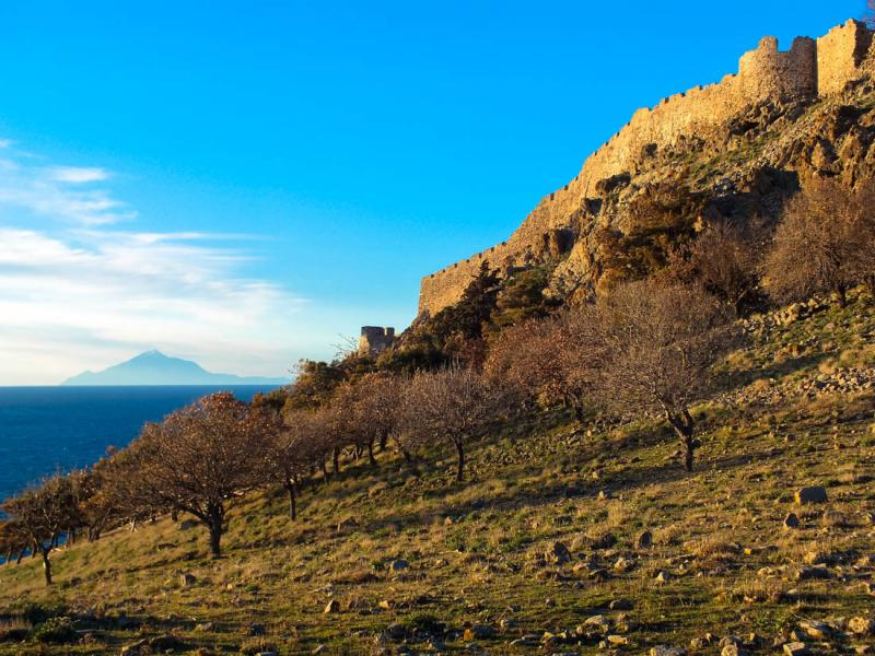 Myrina, Lemnos<br>Castle of Myrina in foreground, and Mount Athos in the background.