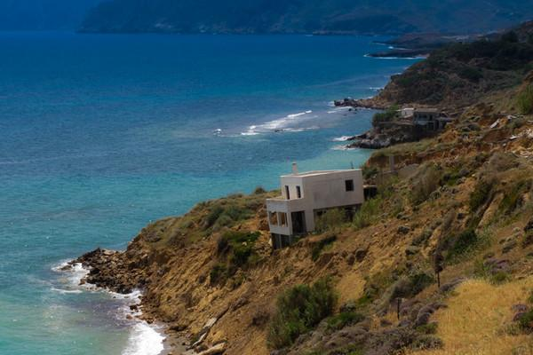 Skyros Island Falling  Abandoned house, after rock slide - by tonino