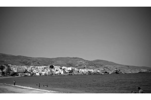 Andros Chora, Andros, Andros Island Chora Andros  A black and white picture of Andros from Paraporti beach - by Stavros